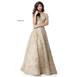 Sherri Hill 51573 Gold Prom Dress size 8